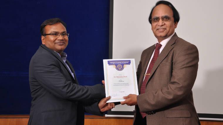 Telangana Academy of Sciences honored Dr Mahendar Thudi with a Fellowship
