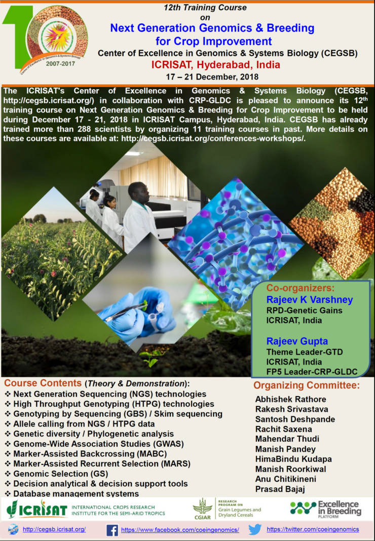 12th Training Course on Next Generation Genomics & Breeding for Crop Improvement