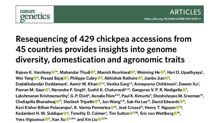 Resequencing of 429 chickpea accessions from 45 countries provides insights into genome diversity, domestication and agronomic traits